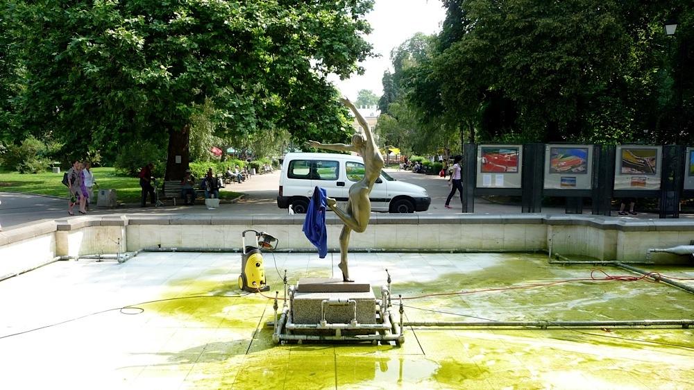 народен театър, градинка, статуя, почистване, София